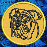 Bulldog Portrait Embroidery Patch - Click for More Information