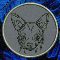 Chihuahua Portrait Embroidery Patch - Click for More Information