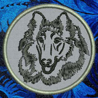 Collie Portrait Embroidery Patch - Click for More Information