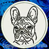 Black Brindle Colored French Bulldog Portrait #1A Embroidered Patch for French Bulldog Lovers - Click to Enlarge