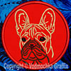 Black Mask Colored French Bulldog Portrait #1B Embroidered Patch for French Bulldog Lovers - Click to Enlarge