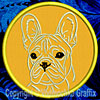 Cream Colored French Bulldog Portrait #1C Embroidered Patch for French Bulldog Lovers - Click to Enlarge