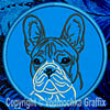 White Brindle Colored French Bulldog Portrait #1D Embroidered Patch for French Bulldog Lovers - Click to Enlarge