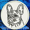 Black Brindle Colored French Bulldog Portrait #2A Embroidered Patch for French Bulldog Lovers - Click to Enlarge