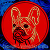 Black Mask Colored French Bulldog Portrait #2B Embroidered Patch for French Bulldog Lovers - Click to Enlarge