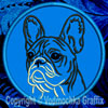 White Brindle Colored French Bulldog Portrait #2D Embroidered Patch for French Bulldog Lovers - Click to Enlarge