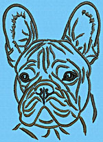French Bulldog Portrait #1A - Vodmochka Embroidery Design Picture - Click to Enlarge