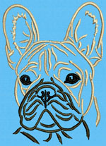 French Bulldog Portrait #1B - Vodmochka Embroidery Design Picture - Click to Enlarge