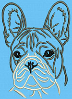 French Bulldog Portrait #1D - Vodmochka Embroidery Design Picture - Click to Enlarge
