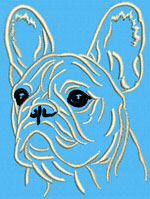 French Bulldog Portrait #2A - Vodmochka Embroidery Design Picture - Click to Enlarge