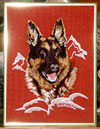 German Shepherd Embroidery Portrait on canvas for German Shepherd Lovers