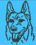 German Shepherd Portrait #2 - Vodmochka Embroidery Design Picture - Click to Enlarge
