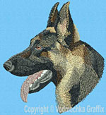 German Shepherd Profile #5 - Vodmochka Embroidery Design Picture - Click to Enlarge