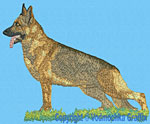 Sable German Shepherd Standing HD#2- Vodmochka Embroidery Design Picture - Click to Enlarge
