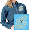 Maltese Agility #1 Embroidered Ladies Denim Shirt for Maltese Lovers - Click to Enlarge