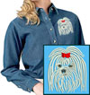 Maltese Portrait Embroidered Ladies Denim Shirt for Maltese Lovers - Click to Enlarge