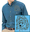 Black Pomeranian Portrait Embroidered Men's Denim Shirt for Pomeranian Lovers - Click to Enlarge