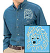 White Pomeranian Portrait #1 Embroidered Men's Denim Shirt for Pomeranian Lovers - Click to Enlarge