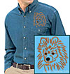 Brown Pomeranian Portrait #1 Embroidered Men's Denim Shirt for Pomeranian Lovers - Click to Enlarge