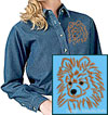Brown Pomeranian Portrait Embroidered Ladies Denim Shirt for Pomeranian Lovers - Click to Enlarge