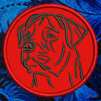 Rottweiler Portrait Embroidery Patch - Click for More Information