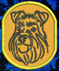 Schnauzer Portrait Embroidery Patch - Click for More Information