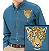 High Definition Jaguar Portrait Embroidered Mens Denim Shirt for Jaguar Lovers - Click to Enlarge