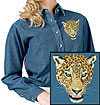 High Definition Jaguar Portrait Embroidered Ladies Denim Shirt for Jaguar Lovers - Click to Enlarge