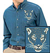 Jaguar Portrait Embroidered Mens Denim Shirt for Jaguar Lovers - Click to Enlarge