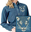 Jaguar Portrait Embroidered Ladie Denim Shirt for Jaguar Lovers - Click to Enlarge