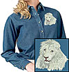 High Definition White Lion Portrait HD2 Embroidered Ladies Denim Shirt for Lion Lovers - Click to Enlarge