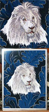 High Definition White Lion HD2 Embroidery Portrait on canvas for Lion Lovers
