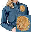 High Definition Lion Portrait #3 Embroidered Ladies Denim Shirt for Lion Lovers - Click to Enlarge