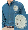 High Definition White Lion Portrait HD4 Embroidered Mens Denim Shirt for Lion Lovers - Click to Enlarge