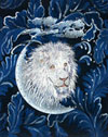 White Lion Embroidery Portrait on canvas for Lion Lovers
