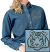 Tiger Portrait Embroidered Ladie Denim Shirt for Tiger Lovers - Click to Enlarge