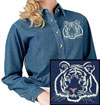 White Tiger Portrait Embroidered Ladie Denim Shirt for Tiger Lovers - Click to Enlarge
