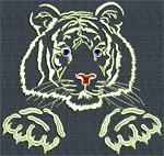White Tiger Portrait #4 - Vodmochka Embroidery Design Picture - Click to Enlarge