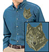 Timber Wolf High Definition Portrait #1 Embroidered Mens Denim Shirt for Wolf Lovers - Click to Enlarge