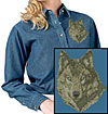Timber Wolf High Definition Portrait #1 Embroidered Ladies Denim Shirt for Wolf Lovers - Click to Enlarge