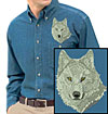 Grey Wolf High Definition Portrait #2 Embroidered Mens Denim Shirt for Wolf Lovers - Click to Enlarge