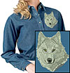 Grey Wolf High Definition Portrait #2 Embroidered Ladies Denim Shirt for Wolf Lovers - Click to Enlarge