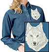 Arctic Wolf High Definition Portrait #3 Embroidered Ladies Denim Shirt for Wolf Lovers - Click to Enlarge