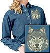 Grey Wolf High Definition Portrait #4 Embroidered Ladies Denim Shirt for Wolf Lovers - Click to Enlarge
